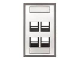 Leviton 4-Port Wall Plate Angled Single-Gang, 43081-1L4, 30816254, Premise Wiring Equipment
