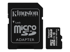 Kingston 32GB Industrial microSDHC UHS-I Flash Memory Card with SD Adapter, Class 10, SDCIT/32GB, 31860855, Memory - Flash