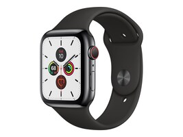 Apple Watch Series 5 GPS+Cellular, 44mm Black Stainless Steel Case with Black Sport Band - S M & M L, MWW72LL/A, 37523745, Wearable Technology - Apple Watch Series 4-5