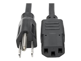 Tripp Lite AC Power Cord NEMA 5-15P to IEC-320 C13 125V 10A 18AWG SJT Black 3ft, P006-003, 11557285, Power Cords