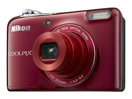 Nikon COOLPIX L32 Digital Camera, 20.1MP, 5x Zoom, Red, 26482, 29321641, Cameras - Digital
