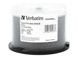 Verbatim 4.7GB 16X White Inkjet DVD-R Media (50-pack Spindle), 95078, 5705974, DVD Media