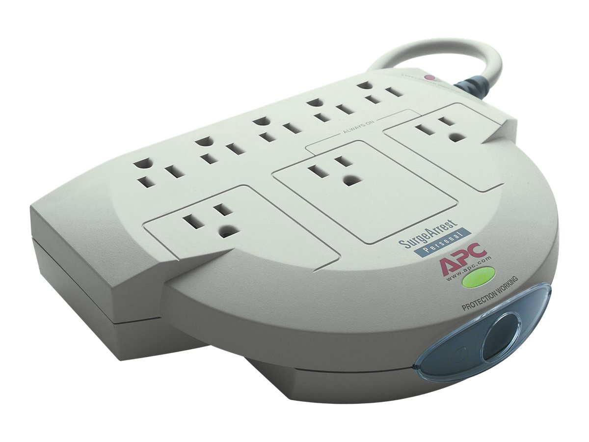 APC Personal SurgeArrest, (8) 5-15R Outlets, Telephone Line Protection, PER8T, 243318, Surge Suppressors