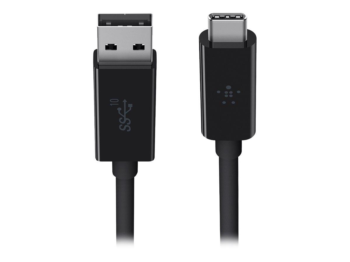 Belkin USB 3.1 Type C (USB-C) to USB Type A M M Cable, Black, 3ft, F2CU029BT1M-BLK, 25876148, Cables