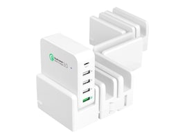 Siig 45W Multi-Flex Foldable 5-Port Charging Station w  USB-C & Quick Charge 3.0 Outputs, White, AC-PW1824-S1, 34480671, Battery Chargers