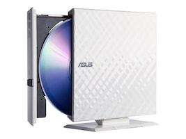 Asus 8x External DVD Writer, White, SDRW-08D2S-U W G ACI, 13520638, DVD Drives - External