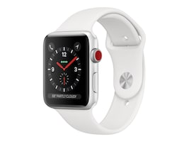 Apple Watch Series 3 GPS + Cellular, 42mm Silver Aluminum Case, White Sport Band, MTGR2LL/A, 36141850, Wearable Technology - Apple Watch Series 1-3
