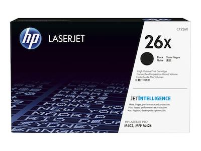 HP 26X (CF226X) High Yield Black Original LaserJet Toner Cartridge w  JetIntelligence, CF226X, 30682532, Toner and Imaging Components - OEM