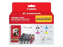 Canon PGI-5 CLI-8 Combo Pack w  PP-201 Glossy II Plus Paper, 0628B027, 11085732, Ink Cartridges & Ink Refill Kits - OEM