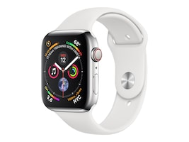 Apple Watch Series 4 GPS+Cellular, 44mm Stainless Steel Case with White Sport Band, MTV22LL/A, 36143652, Wearable Technology - Apple