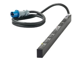 Panduit PDU 0U, 208V, 60A, 3-ph Delta, IEC 60309 3P+E 10ft Cord, (12) C13 (12) C19, QZ1B2G6BN24Z1, 31967257, Power Distribution Units
