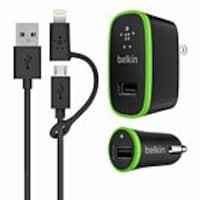 Belkin Home and Car Charger Kit with 3-Foot Micro USB Cable and Lightning Charger Adapter, Black, F8J171TT03-BLK, 31584336, Automobile/Airline Power Adapters