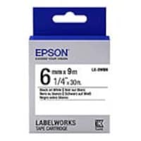Epson 1 4 LabelWorks Standard LK Tape Cartridge - Black on White, LK-2WBN, 32008891, Paper, Labels & Other Print Media