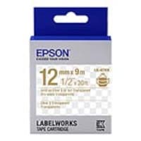 Epson 1 2 LabelWorks Clear LK Tape Cartridge - Gold on Clear, LK-4TKN, 32009149, Paper, Labels & Other Print Media