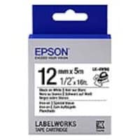 Epson 1 2 LabelWorks Iron On Fabric LK Tape Cartridge - Black on White, LK-4WBQ, 32009165, Paper, Labels & Other Print Media