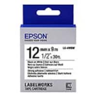Epson 1 2 LabelWorks Strong Adhesive LK Tape Cartridge - Black on White, LK-4WBW, 32009173, Paper, Labels & Other Print Media