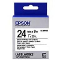 Epson 1 LabelWorks Matte Paper LK Tape Cartridge - Black on White, LK-6WBB, 32009341, Paper, Labels & Other Print Media