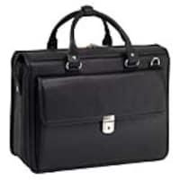 Paladin 15.6 Gresham Leather Litigator Laptop Briefcase, Pebble Grain Calfskin Leather, Black, 15975, 32689551, Carrying Cases - Notebook