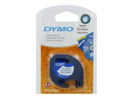 DYMO 1 2 x 12' LetraTag Label - White Plastic with Black Printing, 91331, 193620, Paper, Labels & Other Print Media
