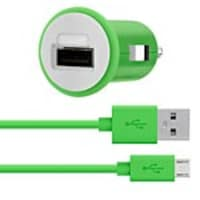 Belkin Mixit-Up USB 2.1A Car Charger w  micro-USB Cable, Green, F8M700BT04-GRN, 33539715, Automobile/Airline Power Adapters