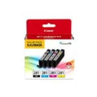 Canon CLI-281 Black, Cyan, Magenta & Yellow 4-Ink Pack, 2091C005, 34539186, Ink Cartridges & Ink Refill Kits