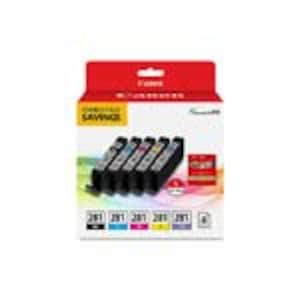 Canon CLI-281 Combo Ink Pack w  5 x 5 Glossy Photo Paper (20-Sheets), 2091C006, 34539194, Ink Cartridges & Ink Refill Kits - OEM