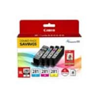 Canon PGI-280 XL CLI-281 Combo Ink Pack w  4 x 6 Glossy Photo Paper (50 Sheets), 2021C006, 34539240, Ink Cartridges & Ink Refill Kits - OEM
