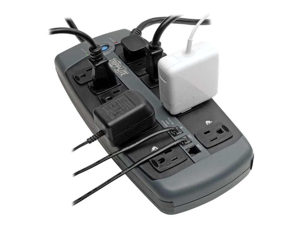 Tripp Lite Protect It! Surge (10) Outlet (7 Transformers) 8ft Cord 2395 Joules, TLP1008TEL, 453395, Surge Suppressors