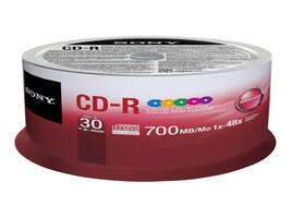 Sony CDR Color Data Media (30-pack Spindle), 30CDQ80XP, 15507912, CD Media