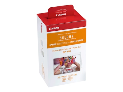 Canon RP-108 Postcard Paper & Ink (108 Sheets), 8568B001, 16733436, Ink Cartridges & Ink Refill Kits - OEM