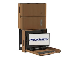 Proximity Classic Series Wall-Mounted Workstation with Right Swivel, Monitor Arm, Med Storage, Wild Cherry, CXT-6010-7054, 33055366, Wall Stations