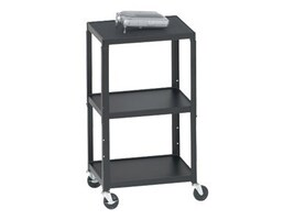 Bretford Manufacturing Adjustable AV Cart with 5 Casters and 2-Outlet Electrical Unit, 27-43, A2642-E5, 7763203, Computer Carts