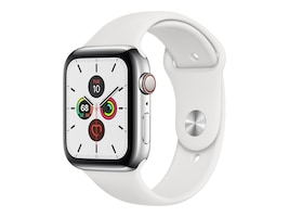 Apple Watch Series 5 GPS+Cellular, 44mm Stainless Steel Case with White Sport Band - S M & M L, MWW22LL/A, 37523702, Wearable Technology - Apple Watch Series 4-5