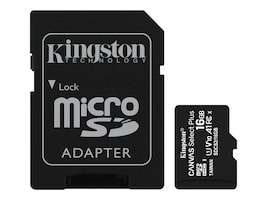 Kingston 16GB Canvas Select Plus MicroSDHC UHS-I Memory Card with SD Adapter, Class 10, SDCS2/16GB, 37690842, Memory - Flash