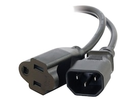 C2G Monitor Power Adapter Cable NEMA 5-15R To IEC320 C14 1ft, 03147, 6825388, Power Cords