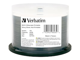 Verbatim 6x 25GB Silver BD-R Media (50-pack Spindle), 98485, 16998127, Blu-Ray Media