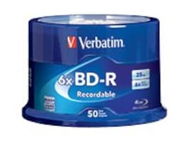 Verbatim 6x 25GB BD-R Branded Media (50-pack Spindle), 98397, 16493102, Blu-Ray Media
