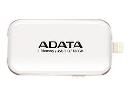 A-Data 128GB i-Memory UE710 OTG USB 3.0 Flash Drive, White, AUE710-128G-CWH, 31057712, Flash Drives