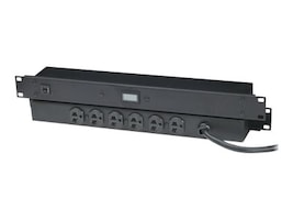Black Box 20-Amp Power Strip, Digital Ammeter, 1U RM, (6) 5-20R Outlets, 6ft Cord, PS365A-R2, 10816644, Power Distribution Units