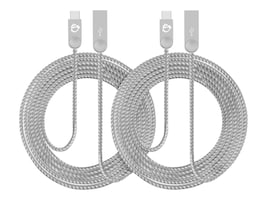 Siig Zinc Alloy USB-C to USB Type A Charging & Sync Braided Cable, 2m, 2-Pack, CB-US0N11-S1, 34989873, Cables