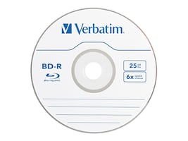 Verbatim 6x 25GB Branded BD-R Media (3-pack Jewel Cases), 97341, 12016317, Blu-Ray Media