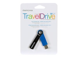 Memorex 32GB TravelDrive USB 2.0 Flash Drive, Blue, 99225, 15191313, Flash Drives