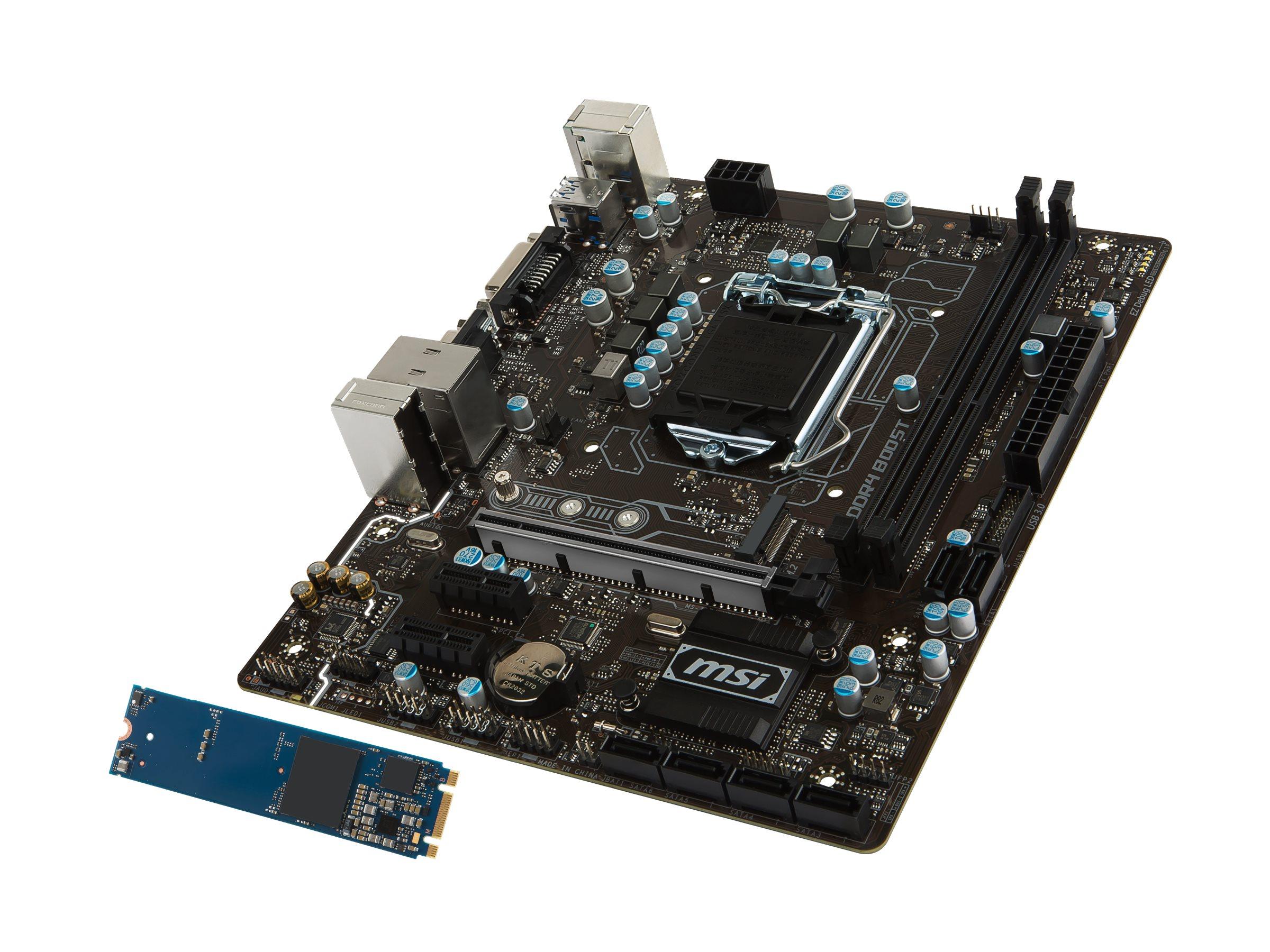 Microstar Motherboard, B250 MATX Optane DDR4 PCIe x16 DVI-D VGA M.2 USB 3.1, B250M PRO OPT BOOST, 34214381, Motherboards