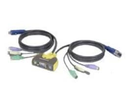 IOGEAR 2-Port MiniView KVM Switch PS 2, w  6' Built-in Cables, GCS612A, 4761683, KVM Switches