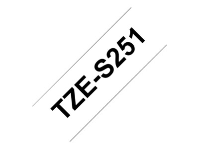Brother 0.94 x 26.2' TZeS251 Black on White Tape w  Extra Strength Adhesive, TZE-S251, 12428119, Paper, Labels & Other Print Media