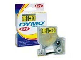 DYMO 1 2 x 23' Black on Yellow D1 Tape, 45018, 393123, Paper, Labels & Other Print Media