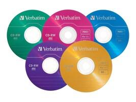 Verbatim 4x 700MB 80 min. CD-RW Media (20-pack), 94300, 430112, CD Media