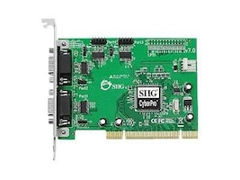 Siig 4-port DB9 PCIe RS-232 550 PCI CyberSerial 4S Adapter, JJ-P45012-S7, 11892366, Controller Cards & I/O Boards