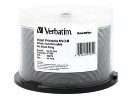 Verbatim 16x 4.7GB White Inkjet Printable DVD-R Media (50-pack Spindle), 95079, 5867084, DVD Media