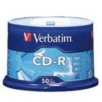 Verbatim 52x 700MB 80min. Branded CD-R Media (50-pack Spindle), 94691, 5205996, CD Media
